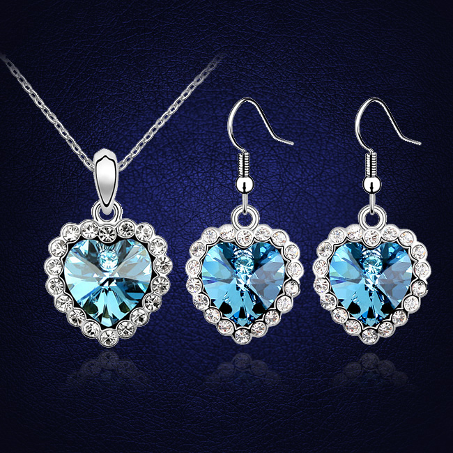 ANNGILL Heart Blue Jewelry Sets Earrings Necklaces Crystals from Swarovski  Jewellery Wedding Conjunto Collar Y Pendientes 380f11cc6e