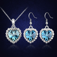 Titanic Ocean Heart Blue Jewelry Sets Earrings Necklaces With Swarovski Elements Jewellery Wedding Conjunto Collar Y