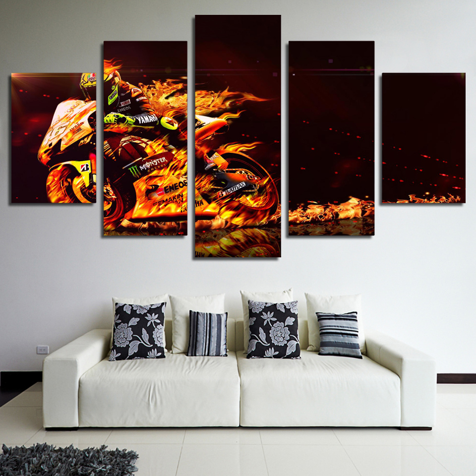 5 Panel Motorcycle Race Canvas Painting Modern Wall Art Prints Landscape Modular Decor Frames Picture