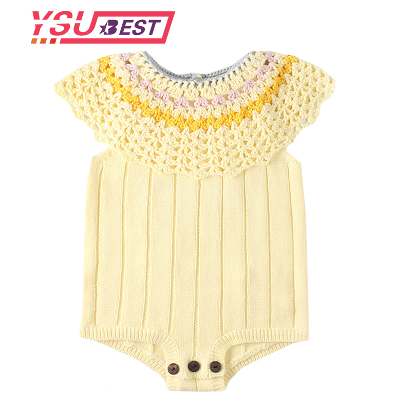 Sping Baby Clothes Baby Knit Romper Girls Newborn Baby Girls Romper Ruffle Princess Toddler Jumpsuits Baby Overalls Jumpersuit