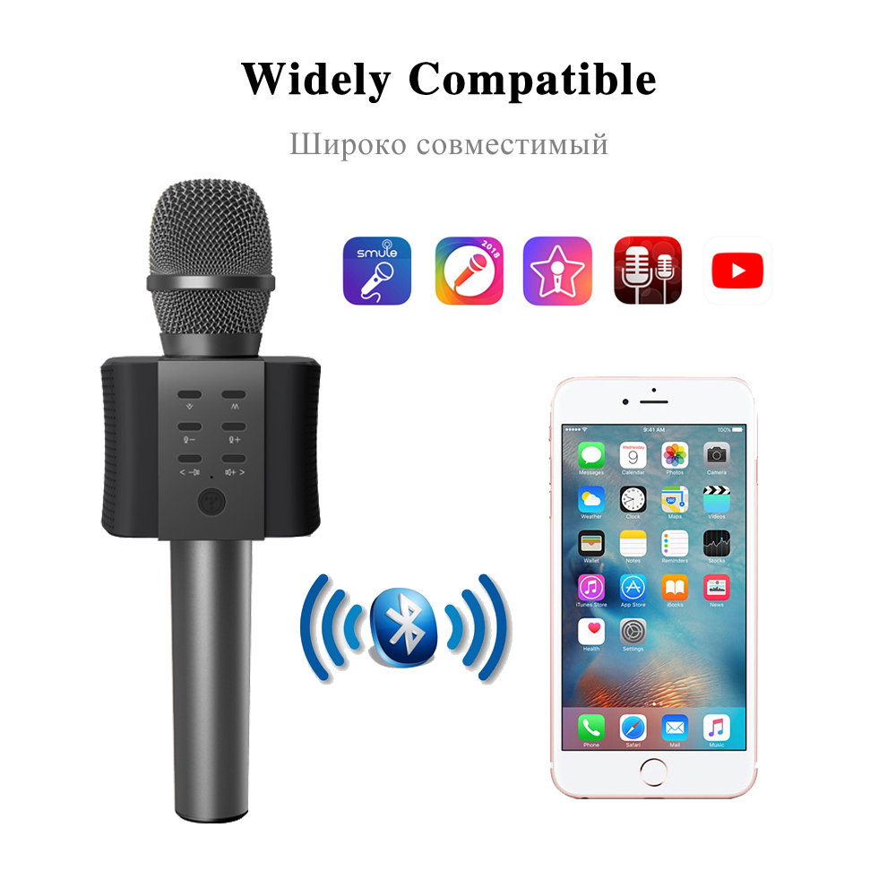 Original Brand Q9 Q7 04 Bluetooth Karaoke Microphone Wireless Mic Player Professional Speaker With Carring Case For Iphone Android In Microphones From Consumer