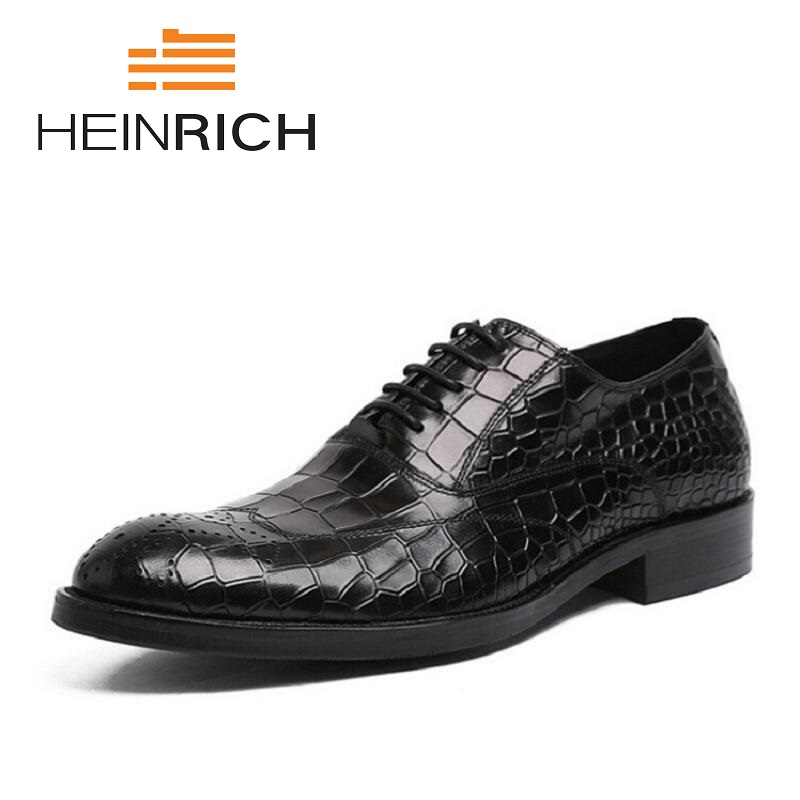 HEINRICH Men Shoes Genuine Leather Lace-UpDress Shoes Men Brand Luxury Business Casual Classic Gentleman Shoes Derbies Homme fashion men shoes genuine leather men casual shoes brand luxury men s business classic gentleman shoes handmade high quality