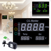 Digital Wall Mounted 0-9999PPM Carbon Dioxide CO2 Meter Gas Analyzer Detector Temperature& Humidity Tester Air Quality Monitor