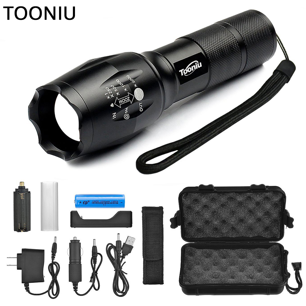 Tooniu XM-L L2 5000LM Aluminum Waterproof Zoomable CREE LED Flashlight Torch tactical light for 18650 Rechargeable Battery