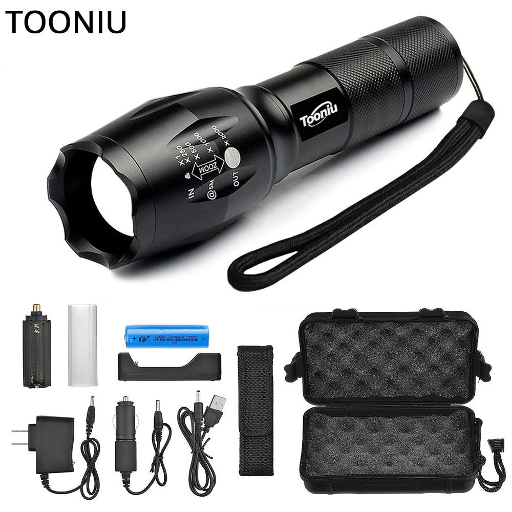 Tooniu XM-L L2 5000LM Impermeabile di Alluminio Zoomable CREE LED Torcia Della Torcia Elettrica tattica luce per 18650 Batteria Ricaricabile