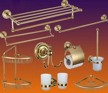 Роскошные Античное золото полированная латунь Аксессуары для ванной набор Аксессуары для ванной комнаты, туалет Бумага держатель рулона А