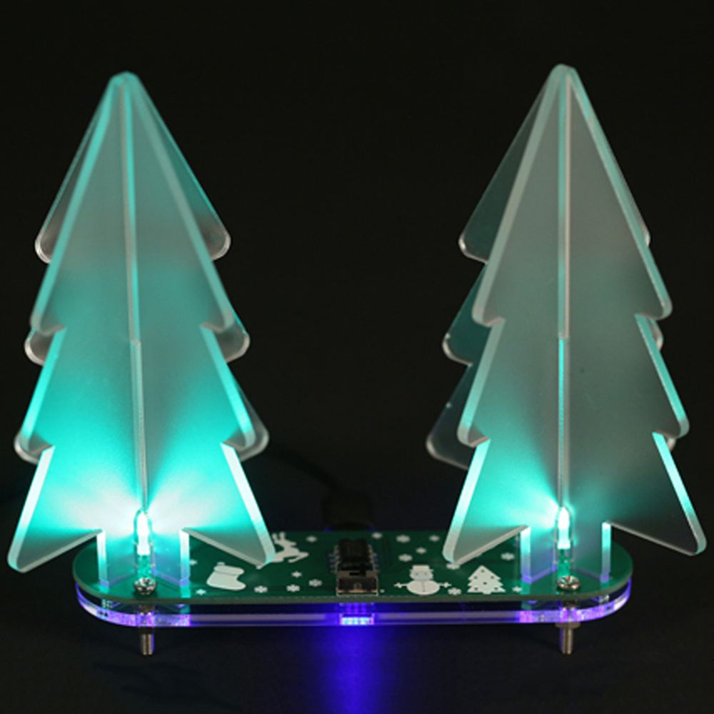 3d Christmas Tree.Us 7 78 10 Off Diy Full Color Changing Led Acrylic 3d Christmas Tree Electronic Learning Kit Green Pcb Board Scrub Acrylic In Trees From Home