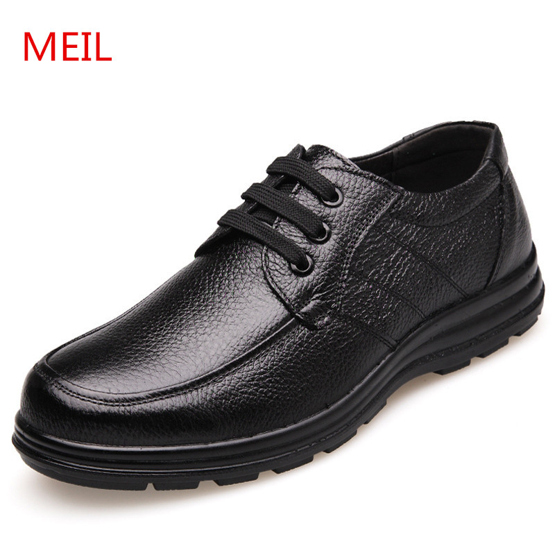 MEIL Casual Shoes men Genuine Leather Handmade Men Shoes Fashion Zapatos Hombres Brand Lace-Up Leather Shoes men Cowhide Loafers cbjsho brand men shoes 2017 new genuine leather moccasins comfortable men loafers luxury men s flats men casual shoes
