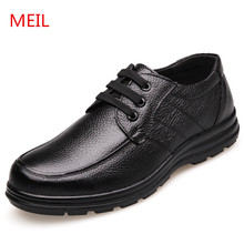 цена MEIL Casual Shoes men Genuine Leather Handmade Men Shoes Fashion Zapatos Hombres Brand Lace-Up Leather Shoes men Cowhide Loafers онлайн в 2017 году