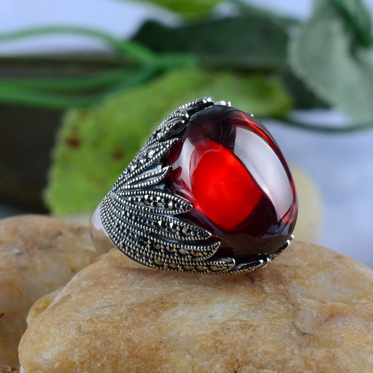 Sterling Silver Thai Silver Restoring Ancient Ways Garnet With Ms Mark Orchid Atmosphere Ring 2018 direct selling anel feminino thai restoring ancient ways leading mosaic unique ring wholesale corundum man with ambition