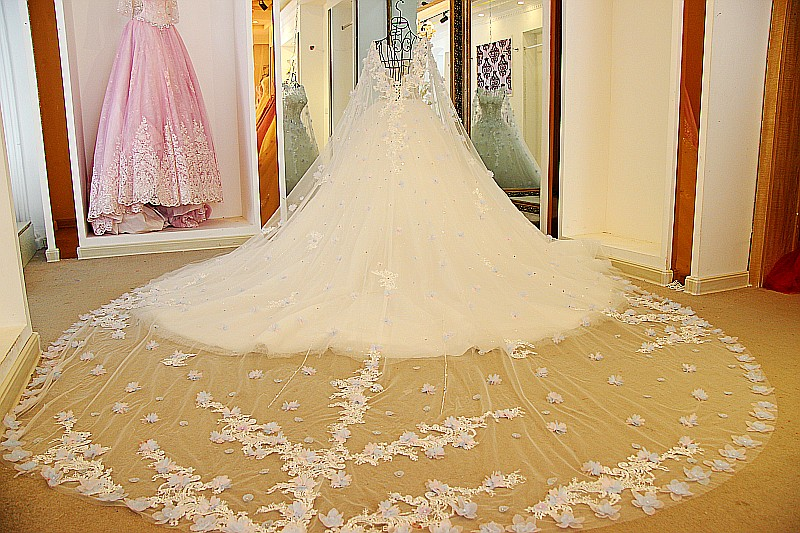 Image 5 - LS54770  Luxury Bridal Dress With Long Cape Ball Gown Tulle Corset Back Bling Luxury Wedding Dress Long Traindress childrendress shirt sleeve measurementdresses warehouse -