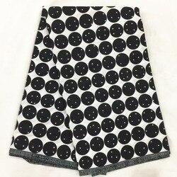 Afryki tkaniny czarny i biały wzory Ankara african Wax drukuj tkanina wyszywana kamieniami afryki druku tkaniny dla kobiet sukienka