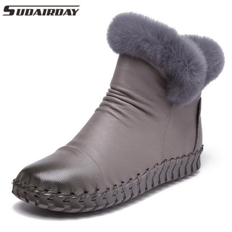 7Colors Women Cotton-padded Winter Shoes Real Fur Genuine Leather Ankle Boots Handmade Full Grain Leather Snow Boots Women serene handmade winter warm socks boots fashion british style leather retro tooling ankle men shoes size38 44 snow male footwear