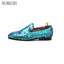 XOBZJH Man Shoes 2019 New Sequin Cloth Shoes Man'S Fashion Business Dress Suits Wedding Party Slip On Blue Shoes Big Size