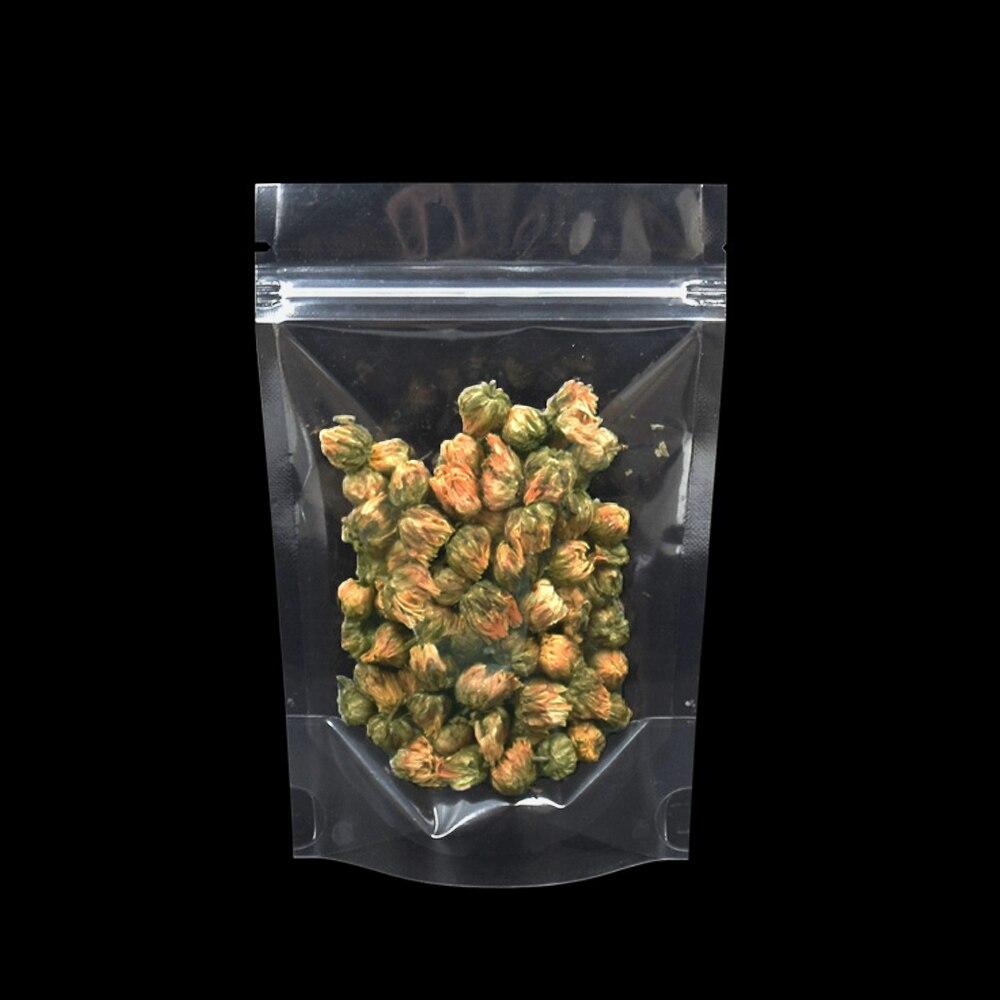 10*15cm Stand Up Transparent Food Grade Plastic Bag 100pcs/lot Packaging Heat Sealable Zip Lock Dried Tea Storage