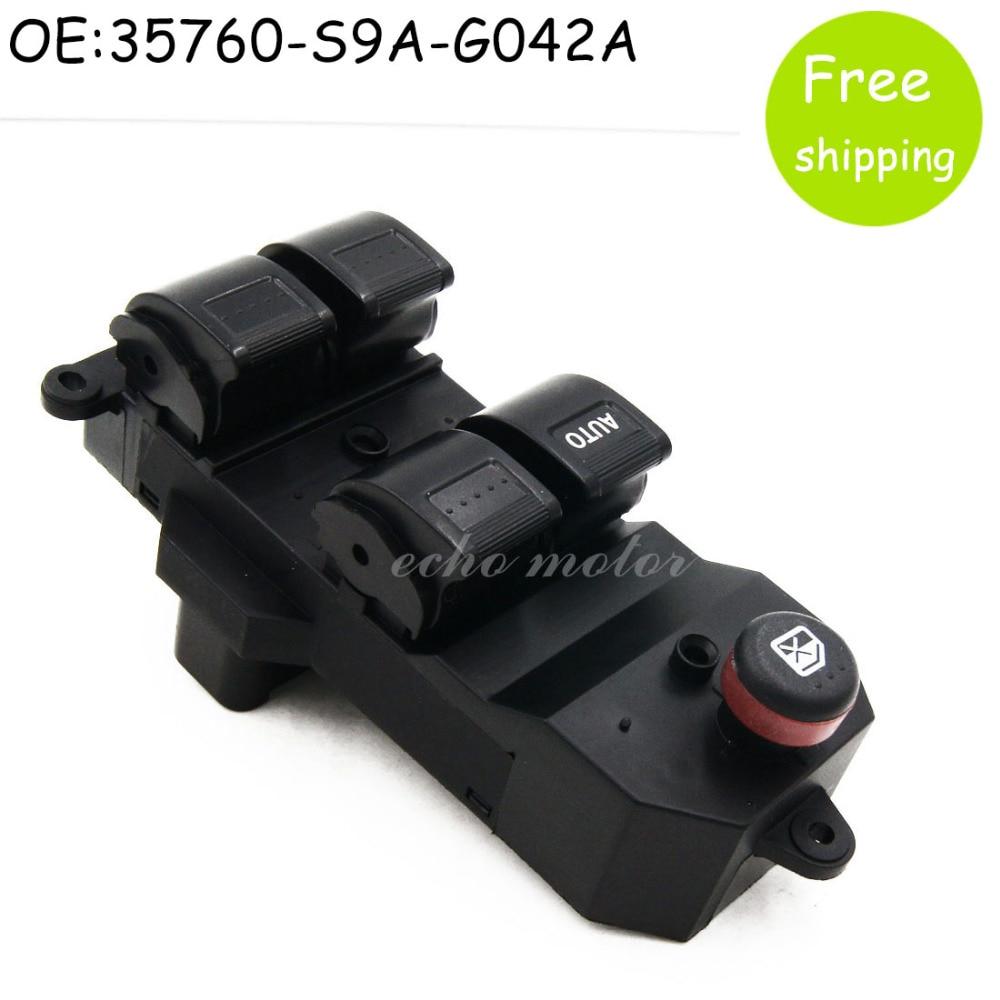 цена на New 35760-S9A-G042A 35760-S9A-G042 Black Electric Power Window Switch For Honda CRV CR-V 2002-2006 Civic 2001-2005 35760S9AG042A
