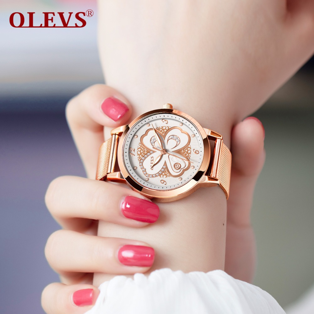 OLEVS Ladies Watch Golden Top Brand Luxury Wrist Watches for Women Watches Stainless Steel Quartz Watch Girls Gift relojes mujer watche women stainless steel band ladies crystal diamond quartz watch luxury rose gold wrist watches relojes mujer