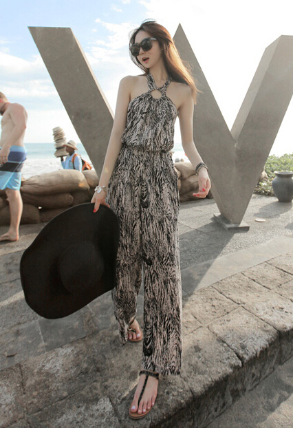 Free Shipping High Quality Hot Sale Korean Leisure Leopard Halter Neck Woman Chiffon Jumpsuit 1