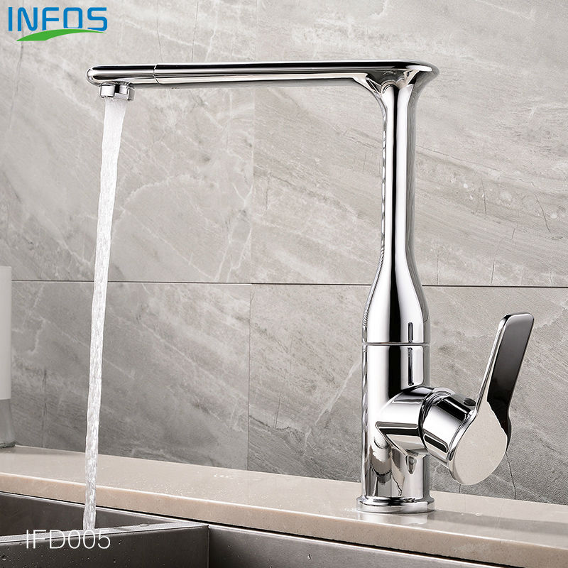 INFOS Brass Rotary Widespread Sink Kitchen Faucet Deck Mounted Hot And Cold Water Mixer Tap Pb