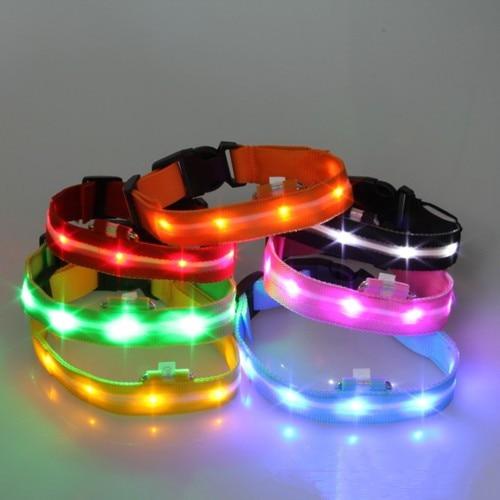 Puppy Dog LED Glow Nylon Collar Adjustable S M L XL Pet Tag Flash Light Safety 5076 Hot