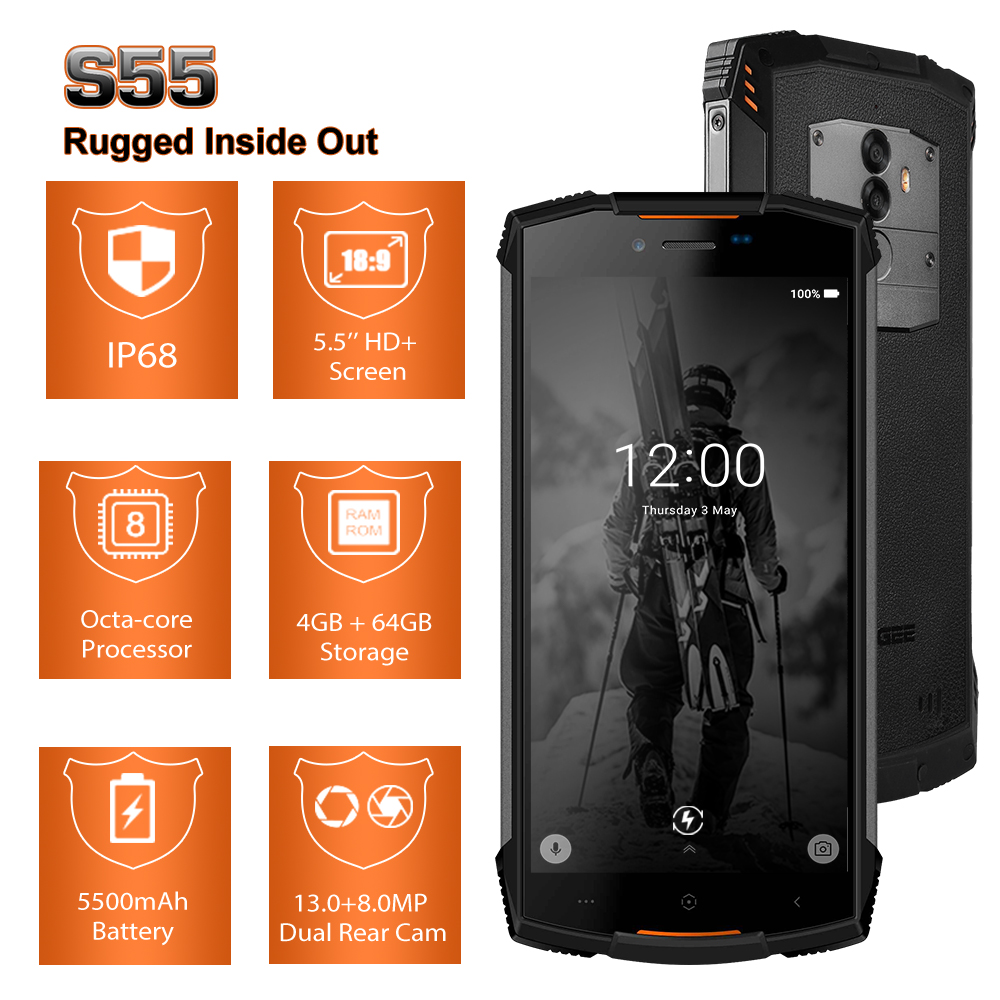 Fast shipping on DOOGEE S55 5.5 inch 18:9 IP68 Waterpoof Dustproof Smartphone MTK6750T 5500mAh 4GB 64GB Mobile phone-in Cellphones from Cellphones & Telecommunications    3