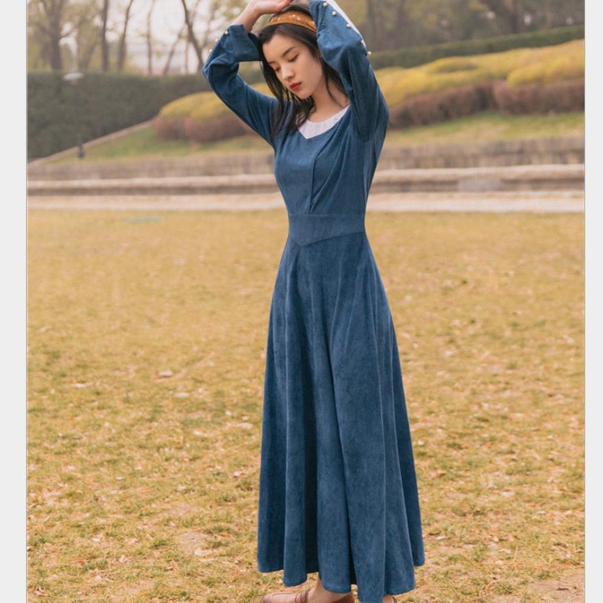 Printemps automne nouveau style vintage or velours taille haute robe femmes v-cou élégante longue robe vêtements de dessus pour femmes hauts gx1712