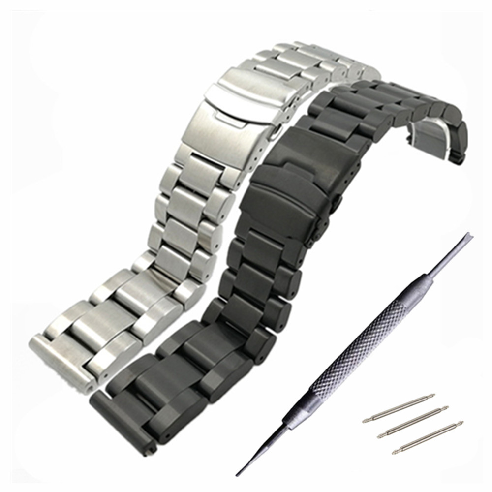 High Quality 22 24 26 mm Solid Stainless Steel Watchband Bracelet Watches Bnad Strap Accessories + Tool