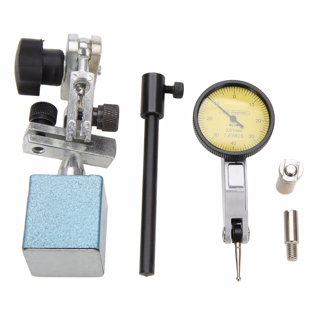 1 Set Dial Test Indicator Gauge + Magnetic Base Holder Stand + 3/8 5/32 Dovetail Clampsw/ Molded Case mini flexible magnetic base holder stand dial test indicator tool