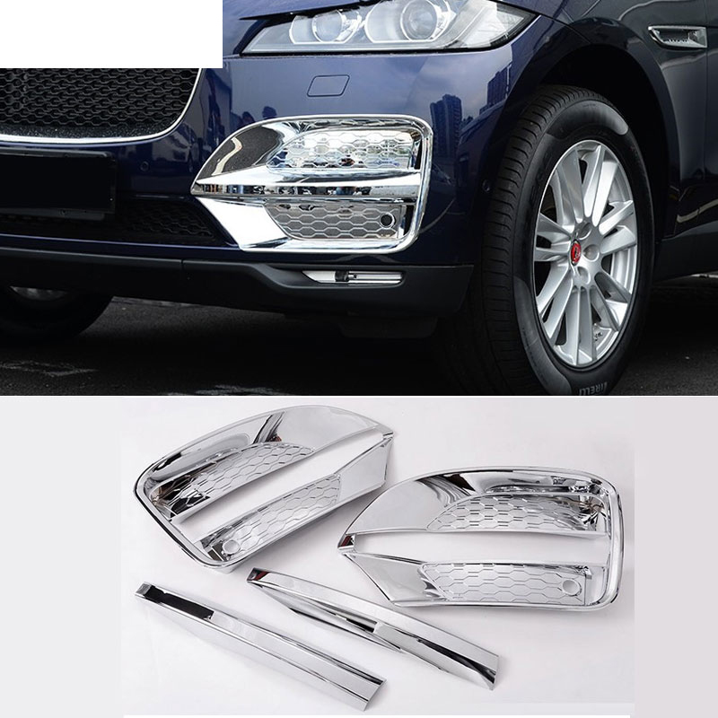 For Jaguar F-Pace f pace X761 Car-Styling ABS Chrome Front Fog Lamp Frame Cover Trim Accessories Set of 4pcs piano black car side fender cover trim 3d sticker for jaguar xe f pace xf xfl 2016 f pace car styling accessories