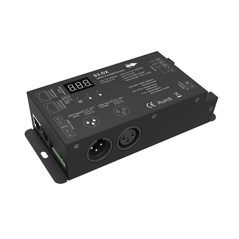 S3-DX;3 Channel High Voltage DMX Decoder;110 - 240VAC input;110 - 200VDC/3CH,2A/CH output;