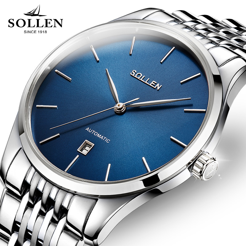 Top SOLLEN Brand Luxury Men Business Watches Automatic Mechanical Stainless Steel Band Simple Style Men's Watch Clock Relogio