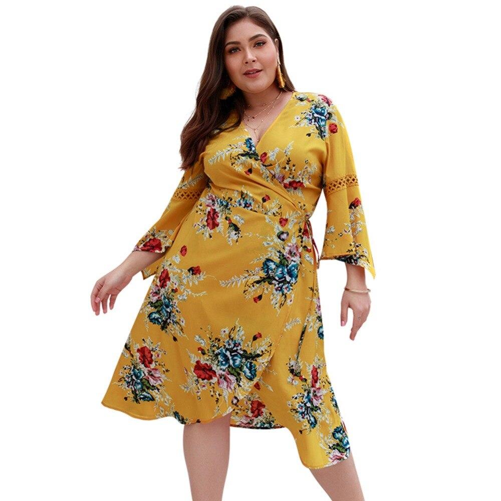 WHZHM Chiffon Full Flare Sleeve High Waist Loose Plus Size 3XL 4XL Dress Women Flower Casual