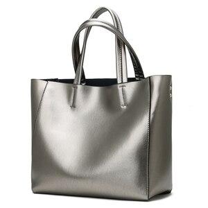 Image 3 - Solid Large Capacity Women Bags Casual Tote Women Pu Leather Handbags Ladies Shoulder Bags Set Bolsa Feminina Black Silver Gold