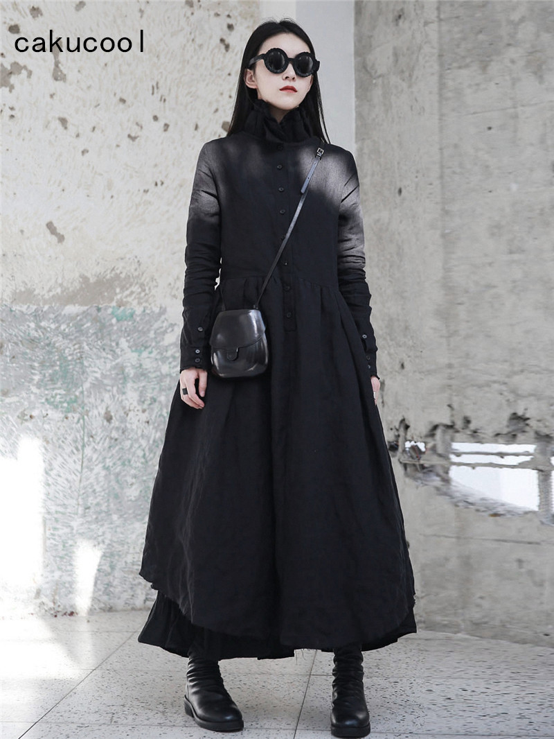 Cakucool New Women Stand Collar Dress Autumn Linen Gothic Ball Gown Vestido X Long Japanese Designer Long Sleeve Black Dresses gown