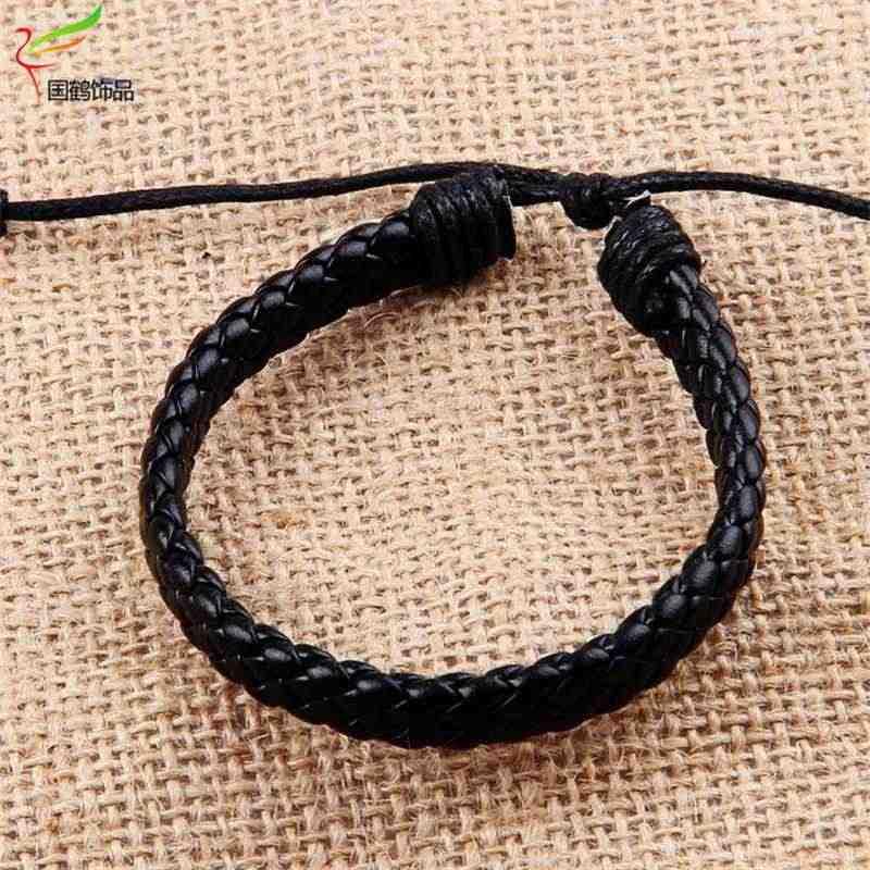 Pas cher mode chaude à la mode bracelets porte-bonheur en cuir bijoux tissé corde chaîne confortable Vintage hommes femmes bohême gros cadeau