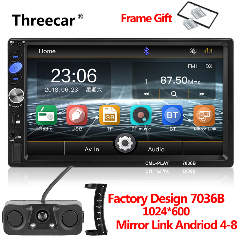 7036B 7 2 Din Touch Screen Car Stereo MP5 Player subwoofer Bluetooth Auto FM Radio Autoradio Mirror Link Android Backup Camera 7 2 din touch screen car stereo mp5 player 4core android os bluetooth wifi gps navigator auto fm radio autoradio mirror link