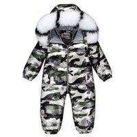 Baby Jumpsuits Boys Girls Winter Overalls Baby Rompers Duck Down Jumpsuit Real Fur Collar Children Outerwear Coat Kids Snowsuit