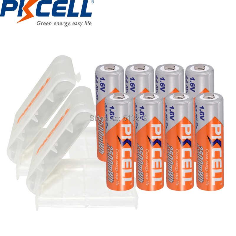 8 шт. PKCELL аккумулятор AA 1,6 в Ni-Zn aa аккумуляторная батарея NIZN батареи 2A 2500mWh и 2 шт. nizn держатель батареи ящики для камеры