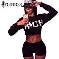 FLODISS Tracksuit 2017 Sportsuit Women 2 Pieces Set Fashion Letter RICH Print Crop Top + Shorts Cute Sets Ladies Sporting Suits