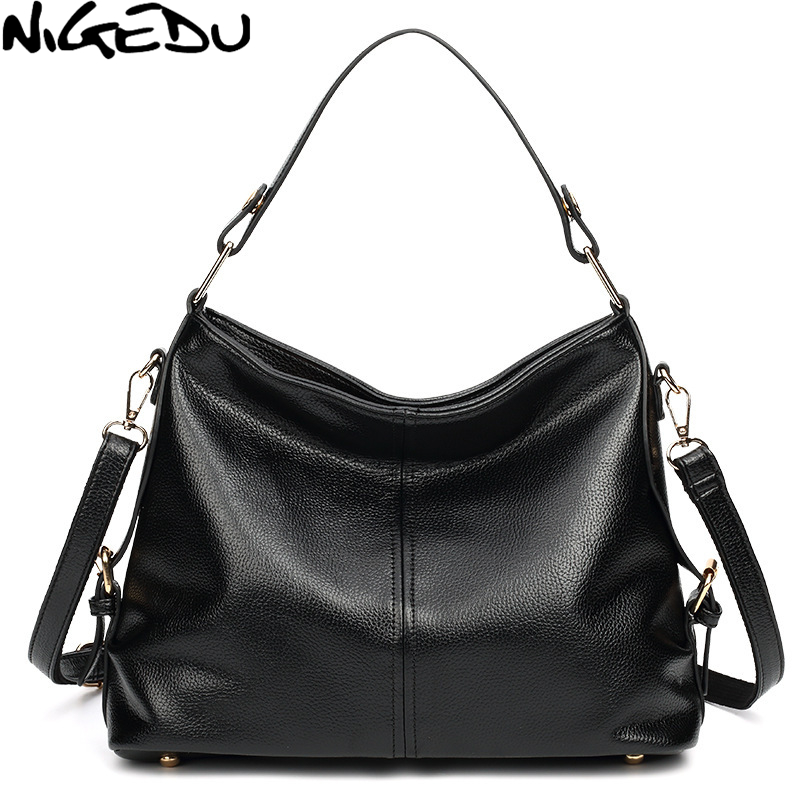 NIGEDU Fashion Women Bag Large capacity Hobos Shoulder bag PU Leather Handbags female Crossbody Bags for Women's big Totes bolsa high quality travel canvas women handbag casual large capacity hobos bag hot sell female totes bolsas ruched solid shoulder bag
