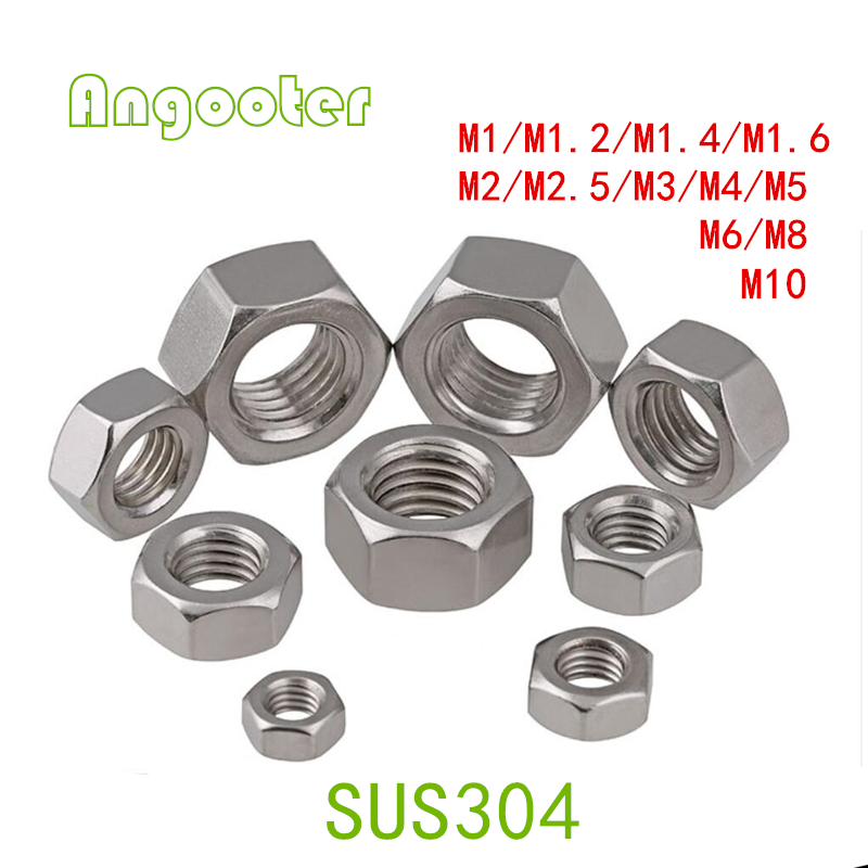 10-100pcs/lot M2 M2.5 M3 M4 M5 M6 M8 M10 DIN 934 A2 Stainless Steel Hex Nut Metric Fastener SS304