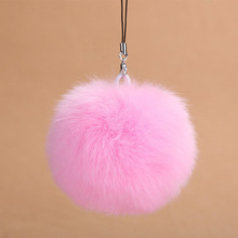 Fashion Fluffy Rabbit Fur Pom Pom Ball Keychain Women Trinket Bag Phone Key Chain Ring Car Key Holder Accessories Souvenirs Gift