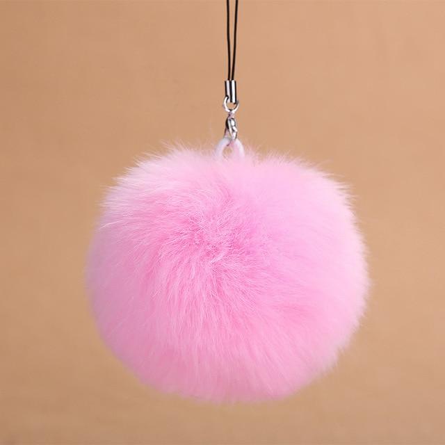 Moda Fluffy Fuax Fur Pom Pom Bola Chaveiro Mulheres Saco Bugiganga Pele De Coelho Chaveiro Anel Chave Do Carro do telefone Titular Acessórios Presente