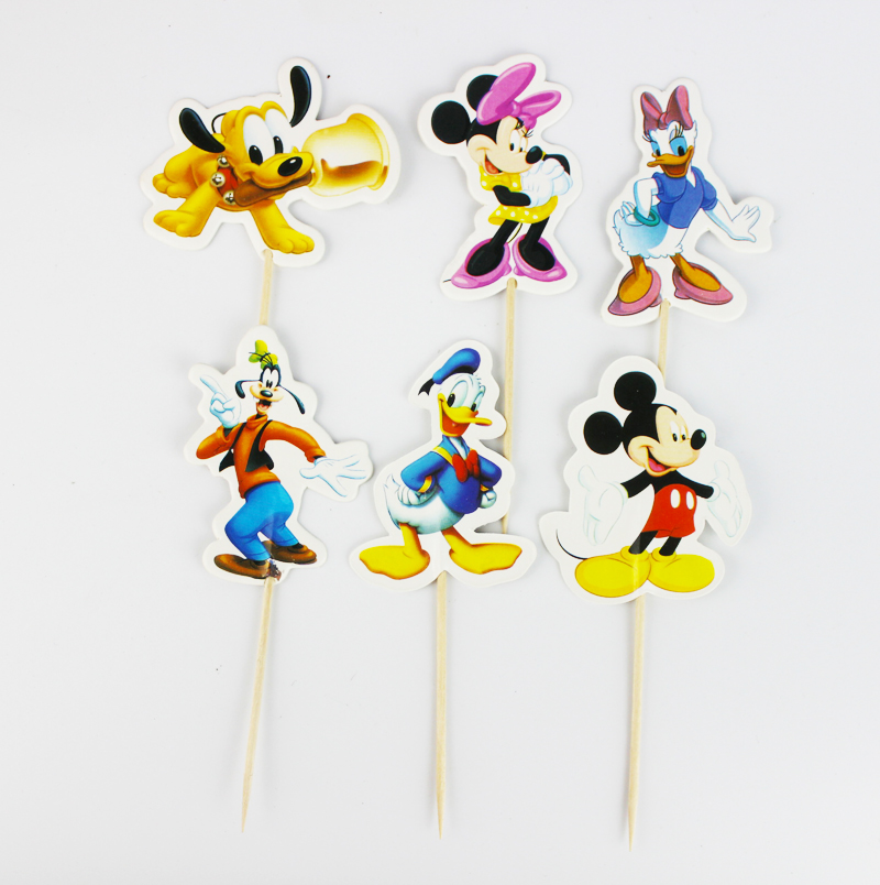 24pcs Mickey & Minnie mouse Cupcake Topper Picks,birthday/wedding party decorations,kids evnent party favors,Party decoration