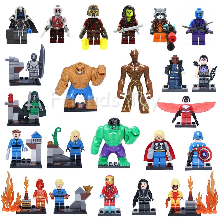 2018 7 X Guardians of the Galaxy 7CM Groot Rocket Marvel Super Hero fit Lego