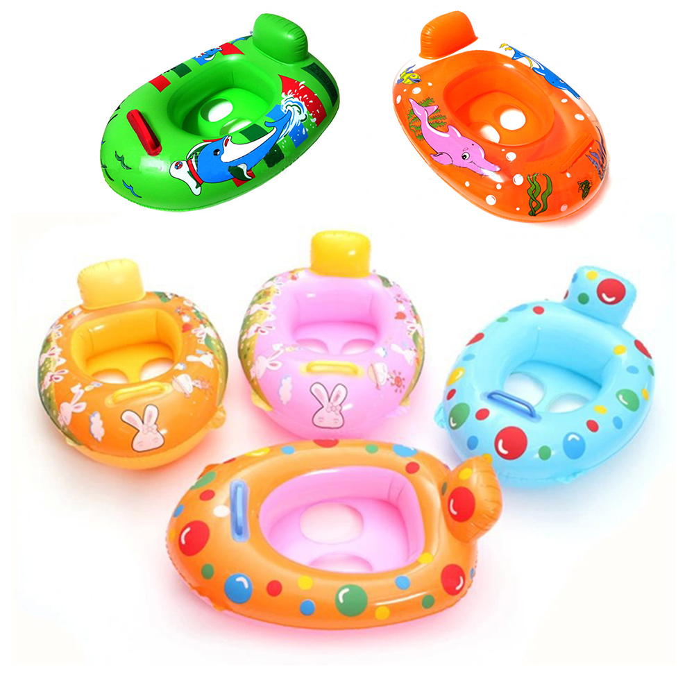 Cute Cartoon Pattern Kids Baby Child Swim Pool Water Sports Inflatable Float Swimming Laps Rings Seat Boat Toys For Boys Girls