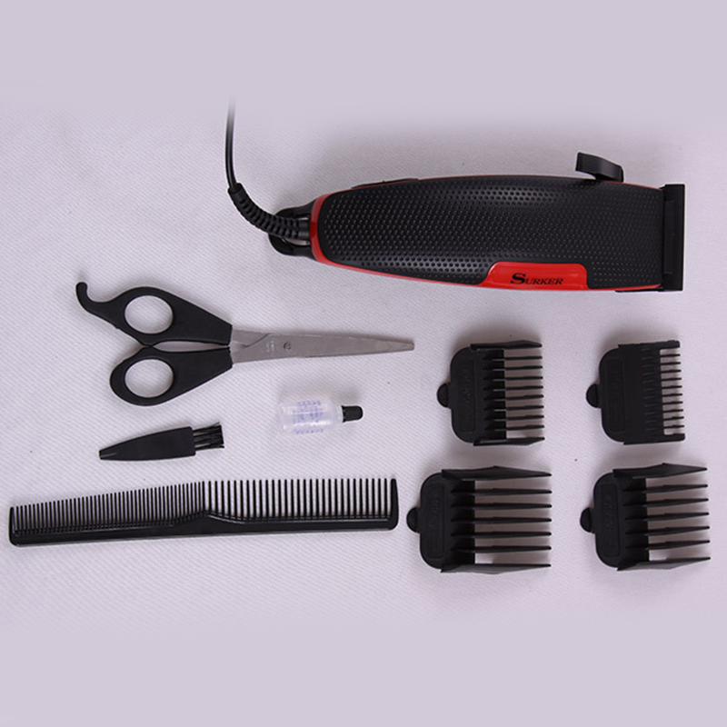SURKER Professional Electric Hair Clipper set Rechargeable waterproof Red Trimmer Adjustable Haircut Machine For Men & women surker model rfc 688b electric foil hair trimmer for men with clean