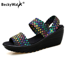 ad53e3f547329 BeckyWalk Women Summer Shoes Woven Slingback Sandals Peep Toe Wedge  Platform Sandals Women Slip On sandales