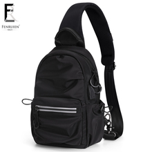 FENRUIEN New Men Casual Shoulder Messenger Bag USB Charging Chest Nylon Waterproof Black Sling Travel Crossbody 2019