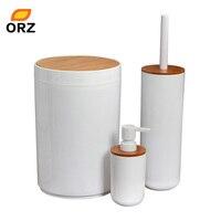 ORZ Juego de cepillos de baño limpiador de inodoro soporte de cepillo de limpieza cubo de basura Gel de ducha botella recargable accesorios de baño